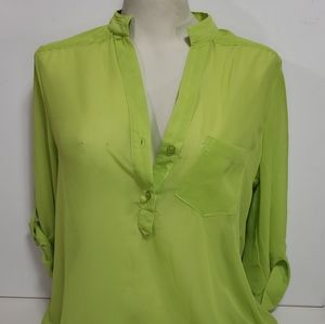 Maurice's Lime Green 3/4 Sleeve Blouse